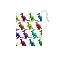 Multicolor Dinosaur Background Drawstring Pouches (small)  by Amaryn4rt