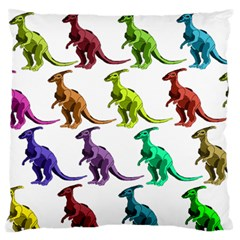 Multicolor Dinosaur Background Large Flano Cushion Case (two Sides) by Amaryn4rt