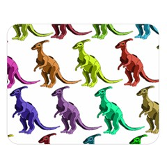 Multicolor Dinosaur Background Double Sided Flano Blanket (large)