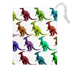 Multicolor Dinosaur Background Drawstring Pouches (xxl) by Amaryn4rt