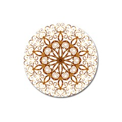 Golden Filigree Flake On White Magnet 3  (round) by Amaryn4rt