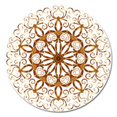 Golden Filigree Flake On White Magnet 5  (round) by Amaryn4rt