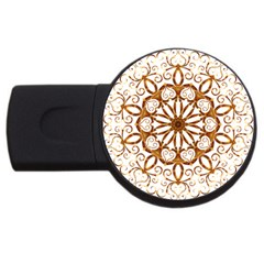 Golden Filigree Flake On White Usb Flash Drive Round (2 Gb) by Amaryn4rt
