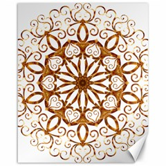 Golden Filigree Flake On White Canvas 16  X 20   by Amaryn4rt