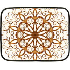 Golden Filigree Flake On White Fleece Blanket (mini) by Amaryn4rt