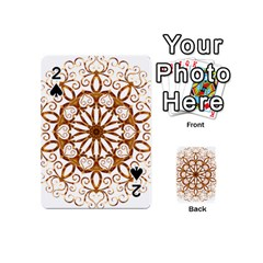 Golden Filigree Flake On White Playing Cards 54 (mini)  by Amaryn4rt