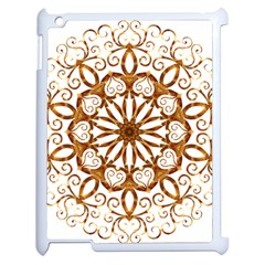 Golden Filigree Flake On White Apple Ipad 2 Case (white) by Amaryn4rt