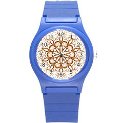 Golden Filigree Flake On White Round Plastic Sport Watch (s) by Amaryn4rt