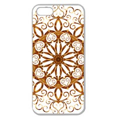 Golden Filigree Flake On White Apple Seamless Iphone 5 Case (clear) by Amaryn4rt