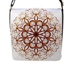 Golden Filigree Flake On White Flap Messenger Bag (l)  by Amaryn4rt