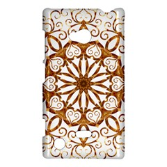Golden Filigree Flake On White Nokia Lumia 720 by Amaryn4rt