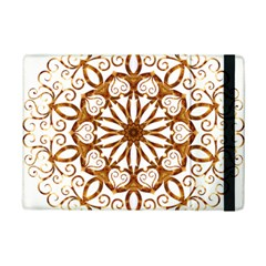 Golden Filigree Flake On White Ipad Mini 2 Flip Cases by Amaryn4rt