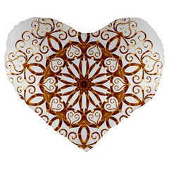 Golden Filigree Flake On White Large 19  Premium Flano Heart Shape Cushions by Amaryn4rt
