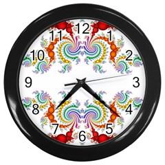 Fractal Kaleidoscope Of A Dragon Head Wall Clocks (black) by Amaryn4rt