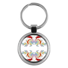 Fractal Kaleidoscope Of A Dragon Head Key Chains (round)  by Amaryn4rt