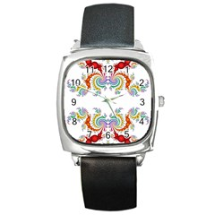 Fractal Kaleidoscope Of A Dragon Head Square Metal Watch by Amaryn4rt