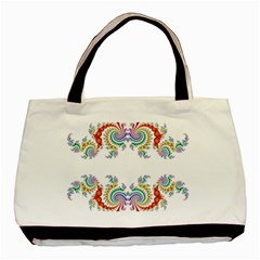 Fractal Kaleidoscope Of A Dragon Head Basic Tote Bag by Amaryn4rt