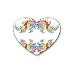Fractal Kaleidoscope Of A Dragon Head Rubber Coaster (heart)  by Amaryn4rt