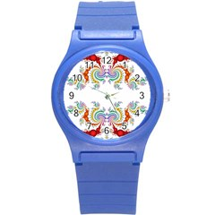 Fractal Kaleidoscope Of A Dragon Head Round Plastic Sport Watch (s) by Amaryn4rt