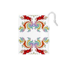 Fractal Kaleidoscope Of A Dragon Head Drawstring Pouches (small)  by Amaryn4rt