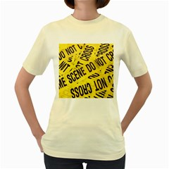 Crime Scene Women s Yellow T Shirt by Valentinaart