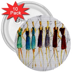 Fashion Sketch  3  Buttons (10 Pack)  by Valentinaart