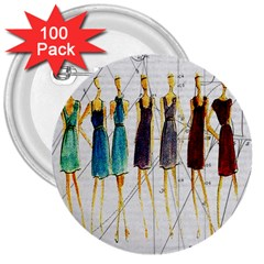 Fashion Sketch  3  Buttons (100 Pack)  by Valentinaart