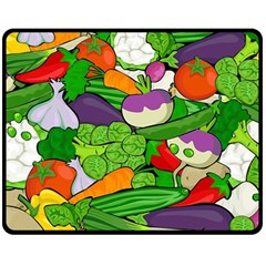 Vegetables  Double Sided Fleece Blanket (medium)  by Valentinaart