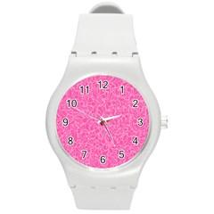 Pink Pattern Round Plastic Sport Watch (m) by Valentinaart