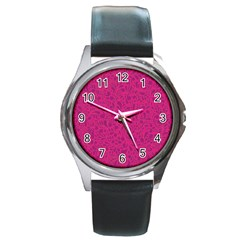 Pink Pattern Round Metal Watch by Valentinaart