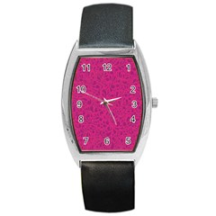 Pink Pattern Barrel Style Metal Watch by Valentinaart
