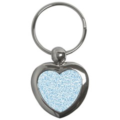 Blue Pattern Key Chains (heart)  by Valentinaart