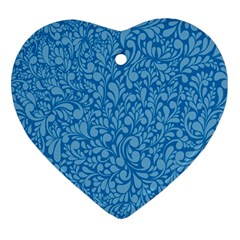 Blue Pattern Heart Ornament (two Sides) by Valentinaart