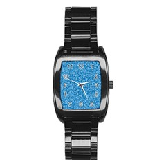 Blue Pattern Stainless Steel Barrel Watch by Valentinaart