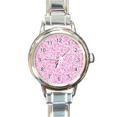 Pink Pattern Round Italian Charm Watch by Valentinaart