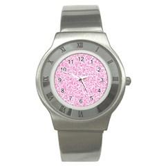 Pink Pattern Stainless Steel Watch by Valentinaart