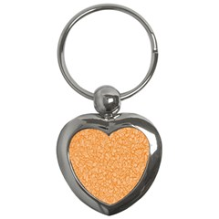 Orange Pattern Key Chains (heart)  by Valentinaart