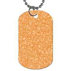 Orange Pattern Dog Tag (two Sides) by Valentinaart