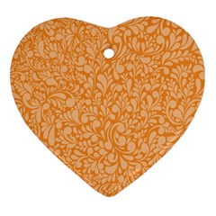Orange Pattern Heart Ornament (two Sides) by Valentinaart