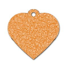Orange Pattern Dog Tag Heart (two Sides) by Valentinaart