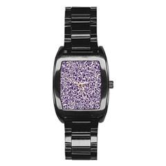 Purple Pattern Stainless Steel Barrel Watch by Valentinaart
