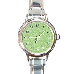 Green Pattern Round Italian Charm Watch by Valentinaart