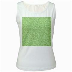 Green Pattern Women s White Tank Top by Valentinaart