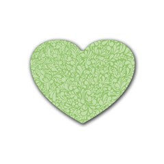 Green Pattern Rubber Coaster (heart)  by Valentinaart
