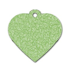 Green Pattern Dog Tag Heart (one Side) by Valentinaart