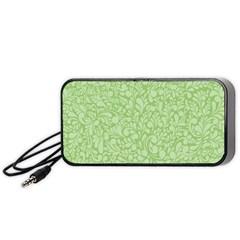 Green Pattern Portable Speaker (black) by Valentinaart