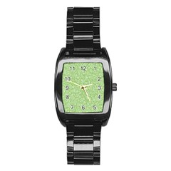 Green Pattern Stainless Steel Barrel Watch by Valentinaart