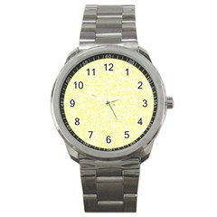 Yellow Pattern Sport Metal Watch by Valentinaart
