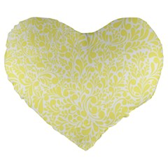 Yellow Pattern Large 19  Premium Heart Shape Cushions by Valentinaart