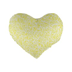 Yellow Pattern Standard 16  Premium Flano Heart Shape Cushions by Valentinaart
